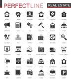 Черные классические значки недвижимости установленные для сети иллюстрация вектора