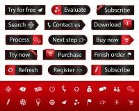 Черные кнопки сети с различными закладками Стоковые Изображения RF