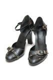 черные кожаные ботинки пар Стоковое фото RF