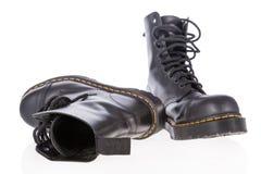 Черные кожаные ботинки работы с стальным пальцем ноги стоковые изображения rf