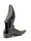 черные кожаные mens патентуют ботинки стоковые изображения rf