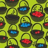 Черные корзины с ягодами лета на зеленой предпосылке бесплатная иллюстрация