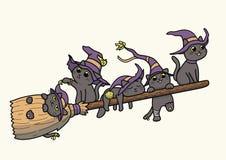 Черные коты ведьмы летая на †broomstick «vector шарж иллюстрация штока