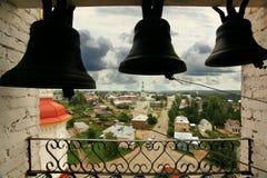 Черные колоколы в церков Стоковые Фото