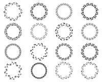 Черные круглые установленные границы и рамки Бесплатная Иллюстрация