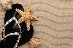Черные кувырки с стразами и seashell, морскими звёздами на волнистом песке Стоковые Изображения RF