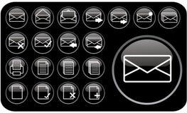 черные лоснистые иконы part1 Стоковое фото RF
