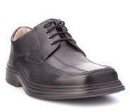 черные лоснистые шнурки ботинка человека s Стоковые Изображения