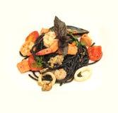 Черные морепродукты spaghett Стоковая Фотография