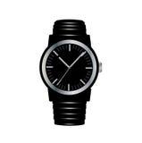 Черные наручные часы изолированные на белизне Бесплатная Иллюстрация