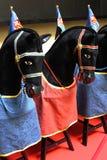 Черные лошади на линии Стоковое фото RF