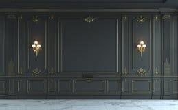 Черные панели стены в классическом стиле с золочением перевод 3d Стоковое Фото