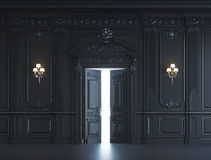 Черные панели стены в классическом стиле с серебрить перевод 3d Стоковое Изображение