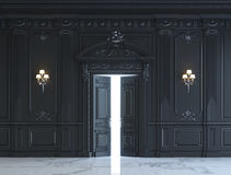 Черные панели стены в классическом стиле с серебрить перевод 3d Стоковые Изображения