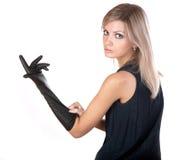 черные перчатки девушки платья Стоковые Изображения