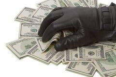 черные перчатки доллары вороха руки Стоковая Фотография