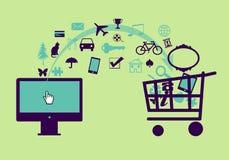 Черные покупки пятницы онлайн Иллюстрация штока