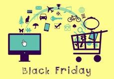 Черные покупки пятницы онлайн Иллюстрация вектора