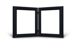 черные прикрепленные на петлях рамки изображают близнеца Стоковое фото RF