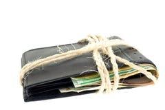 черные примечания кожи евро связали бумажник Стоковая Фотография