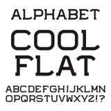 Черные прописные буквы Холодный плоский шрифт Изолированный английский алфавит Стоковые Фотографии RF