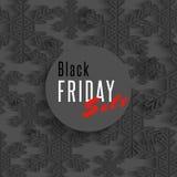 Черные плакат продажи пятницы, снежинки и скидка xmas предлагают плакат, стикер продвижения Стоковые Изображения RF