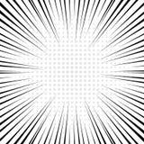 Черные радиальные линии с серым полутоновым изображением для предпосылки комика Стоковые Изображения RF