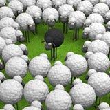 Черные различные овцы на иллюстрации зеленой травы 3d Стоковые Изображения RF