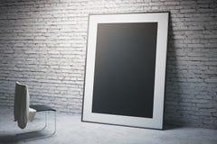 Черные рамка и стул Стоковая Фотография RF
