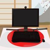 черные самураи монитора иллюстрация вектора