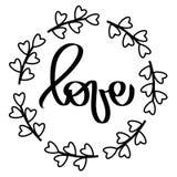 Черные сердца обрамляют любовь r Изолированный круглый венок рамки Декоративный элемент дизайна для приглашения свадьбы, бирок, иллюстрация штока