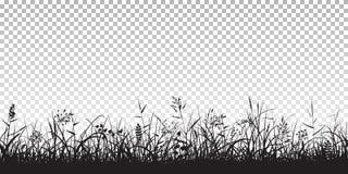 Черные силуэты травы иллюстрация вектора