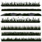 Черные силуэты травы бесплатная иллюстрация