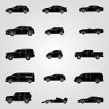 Черные силуэты установленные различного автомобиля вектор иллюстрация вектора