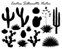 Черные силуэты кактуса, столетника, и шиповатой груши Стоковые Фото