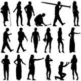 Черные силуэты красивого укомплектовывают личным составом и женщина на белом backgrou Стоковое Изображение RF