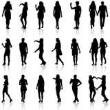 Черные силуэты красивого укомплектовывают личным составом и женщина на белом backgrou Стоковое Изображение