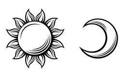 Черные силуэты солнца и луны. Вектор  Стоковое Изображение
