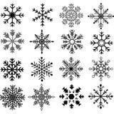 Черные собрания силуэта снежинок Стоковое Изображение