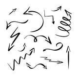 Черные стрелки Иллюстрация Eps 10 вектора собрания вычерченной стрелки руки установленная Указатели Drawning изолированные на бел бесплатная иллюстрация