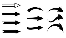 Черные стрелки - комплект элементов Стоковые Фотографии RF