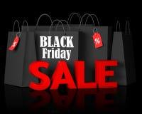 Черные сумки пятницы и красная продажа текста 3d Стоковое Изображение