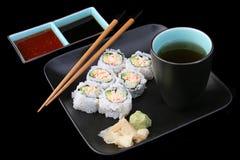 черные суши еды стоковые фото