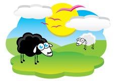 черные счастливые овцы Иллюстрация вектора