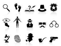 черные сыщицкие установленные иконы Стоковые Изображения RF