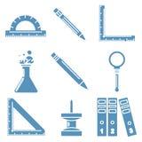Черные товары школы, свет - голубые линейные значки часть Стоковое Изображение