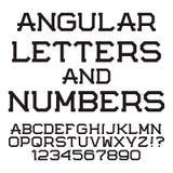 Черные угловые письма и номера Стильный шрифт латинско Стоковые Изображения