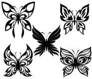 черные установленные бабочки татуируют белизну Стоковые Фотографии RF