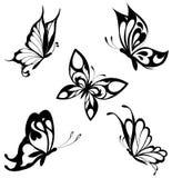 черные установленные бабочки татуируют белизну Стоковое Изображение