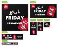 Черные установленные знамена продажи пятницы Стоковые Фотографии RF